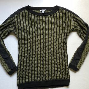 DKNY Chunky Knit Striped olive green sweater SMALL